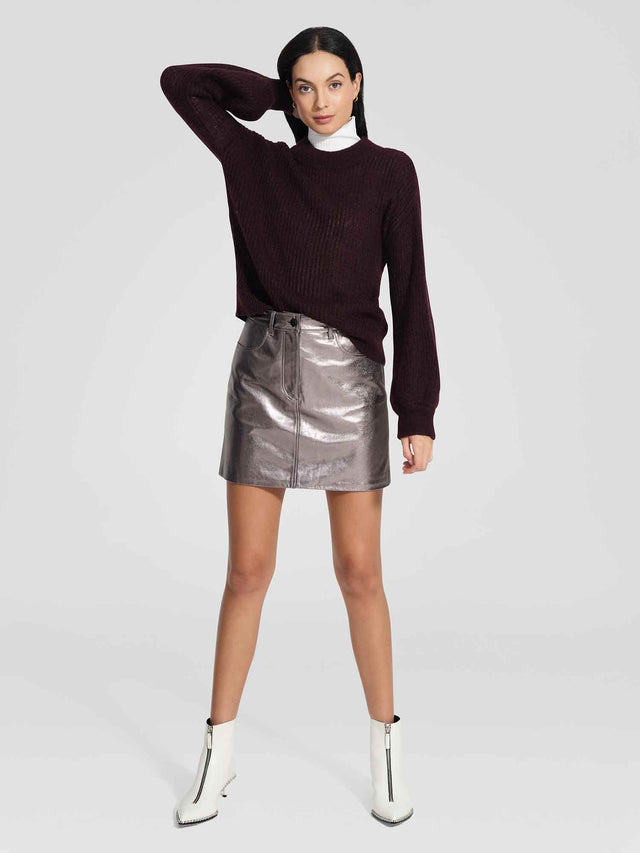 Leather Piper Skirt Metallic