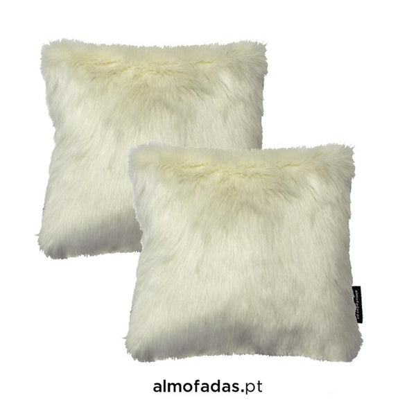 Pack 2X Almofadas Furry Faux Polar White