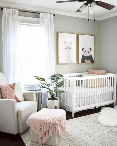 gender neutral nursery design with plants