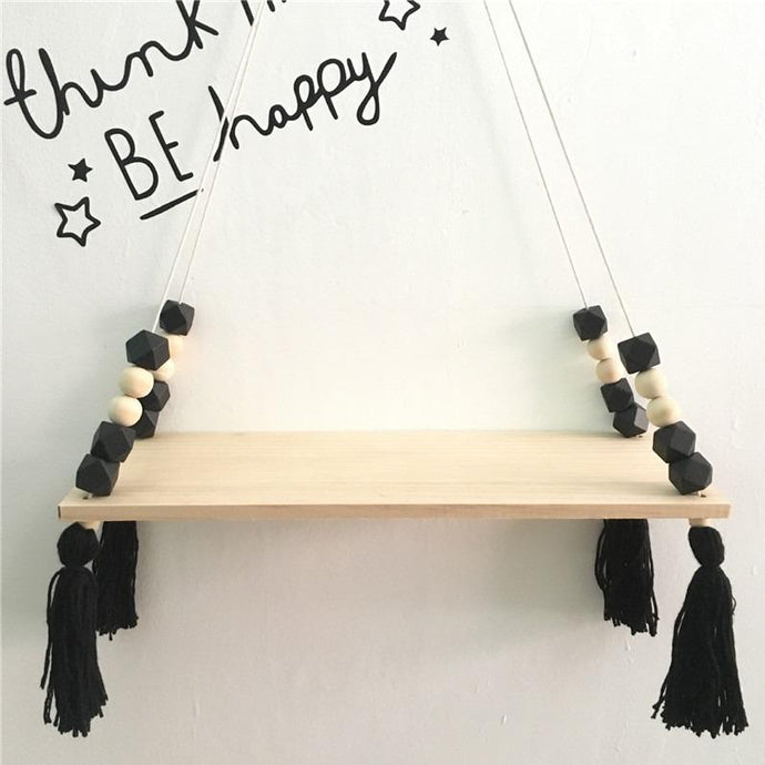 Black Beads Shelf Hanging - Designooks- Decorating made easy