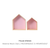pink house shaped wall shelf