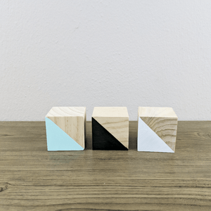 Stars Wooden Cubes Set- 3 Pcs - Designooks- Decorating made easy