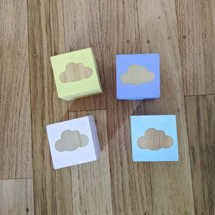 Clouds Wooden Cubes Set- 4 Pcs - Designooks- Decorating made easy