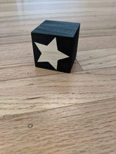 Load image into Gallery viewer, Black Star Wooden Cube- 2 pcs - Designooks- Decorating made easy