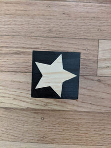 Black Star Wooden Cube- 2 pcs - Designooks- Decorating made easy