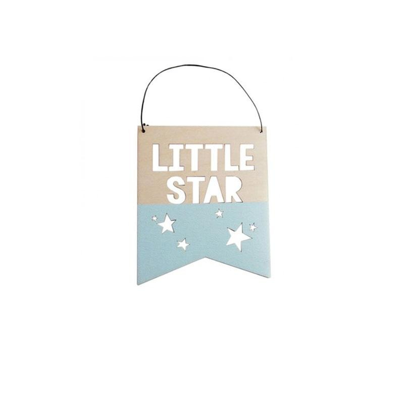 Little Star Wood Sign- Light Blue - Designooks- Decorating made easy