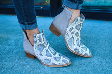 Short Side Snakeskin Bootie
