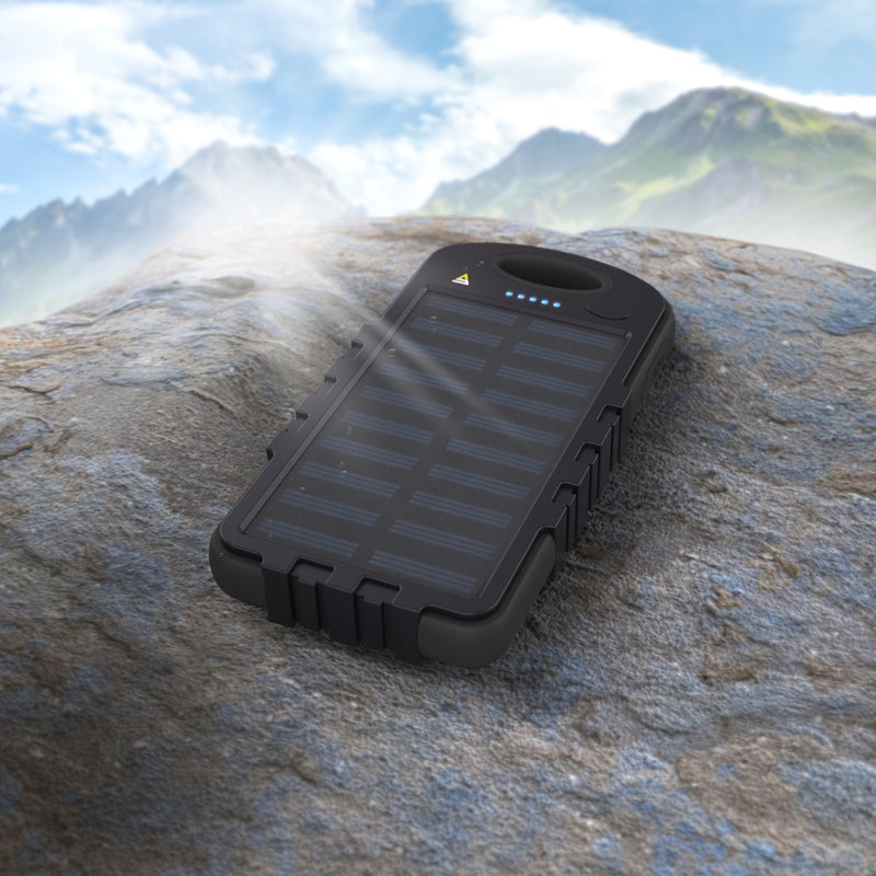 10,000 Mah Rugged Solar Powerbank with LED Flashlight