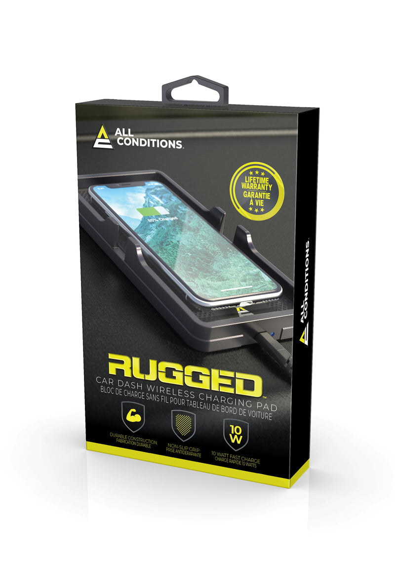 10W Rugged Wireless Charging Car Dash Pad
