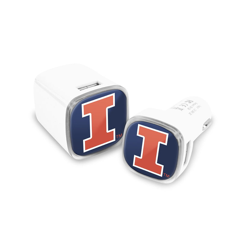 Illinois Fighting Illini Car and Wall Chargers - Prime Brands Group