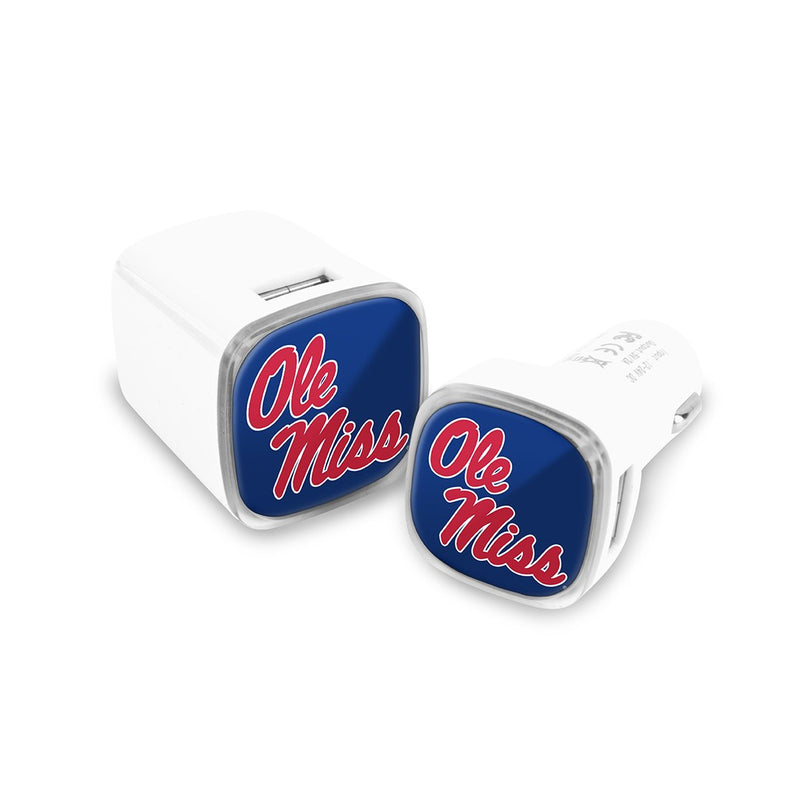 Ole Miss Rebels Car & Wall Charger 2 Pack - Prime Brands Group