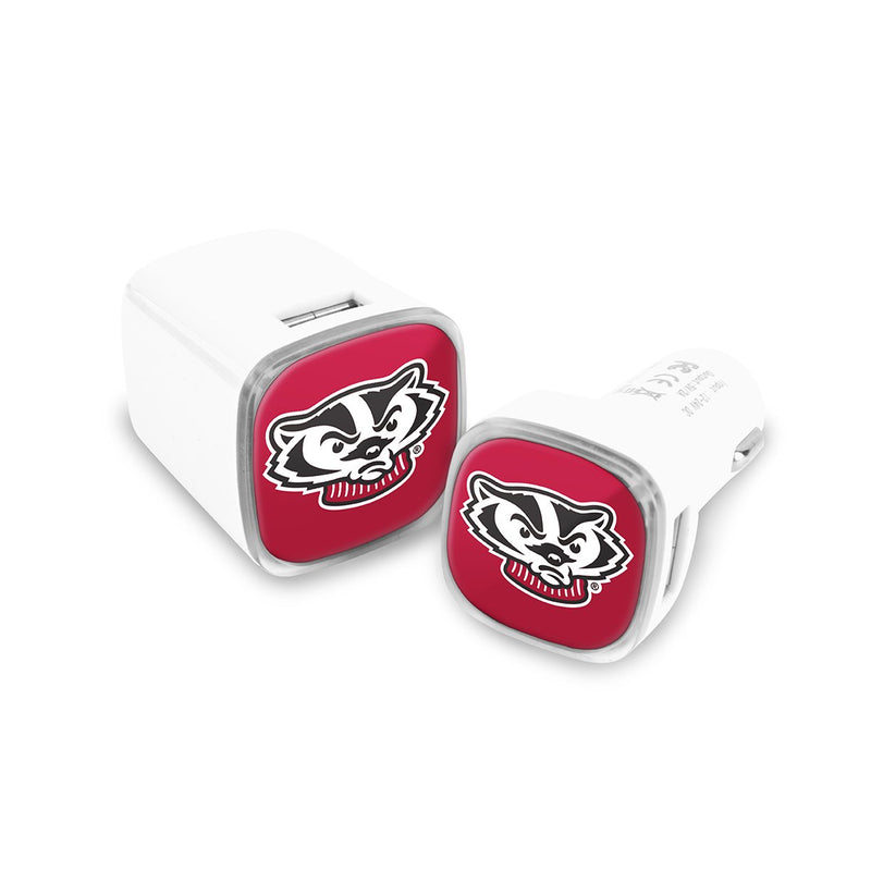 Wisconsin Badgers Car & Wall Charger 2 Pack - Prime Brands Group