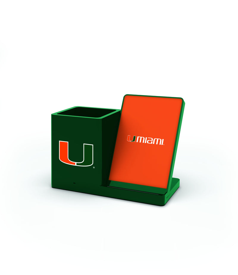 Miami Hurricanes Wireless Charging Pen Holder - Prime Brands Group