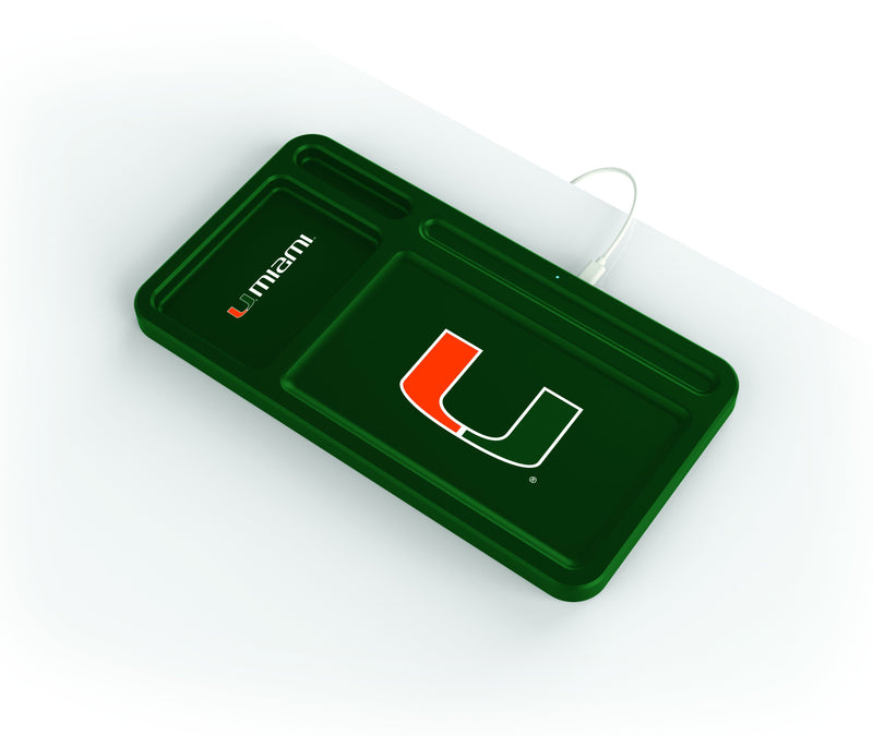 Miami Hurricanes Wireless Charging Desk Valet - Prime Brands Group