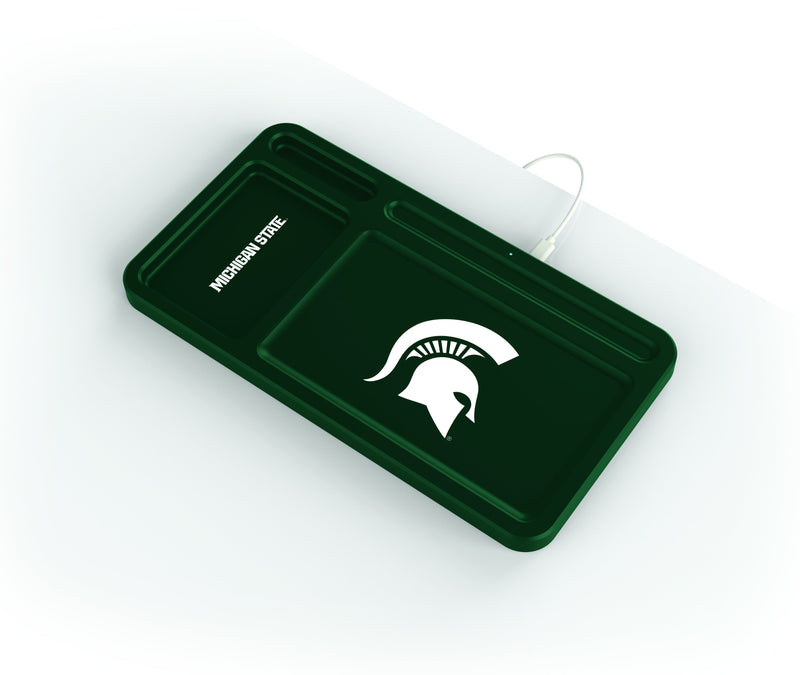 Michigan State Spartans Wireless Charging Desk Valet - Prime Brands Group