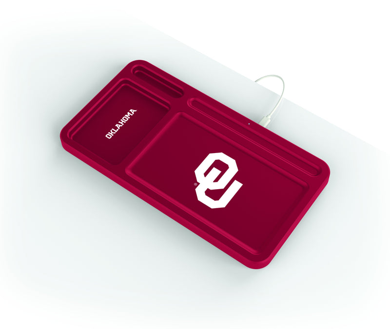 Oklahoma Sooners Wireless Charging Desk Valet - Prime Brands Group