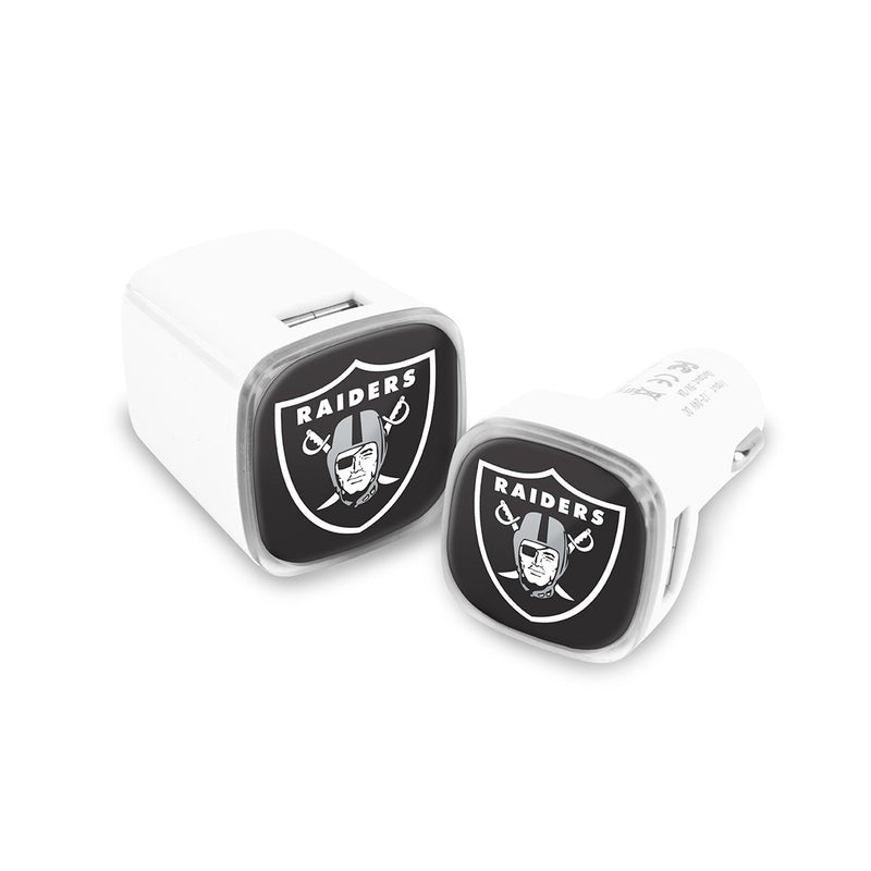 Oakland Raiders Car & Wall Charger 2 Pack - Prime Brands Group