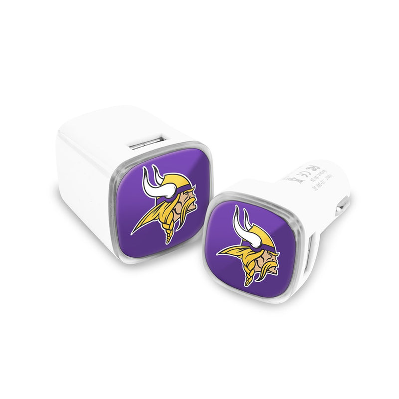 Minnesota Vikings Car & Wall Charger 2 Pack - Prime Brands Group