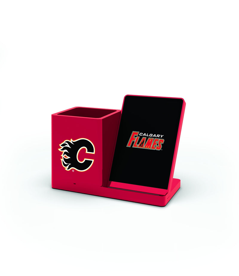 Calgary Flames Wireless Charging Pen Holder - Prime Brands Group