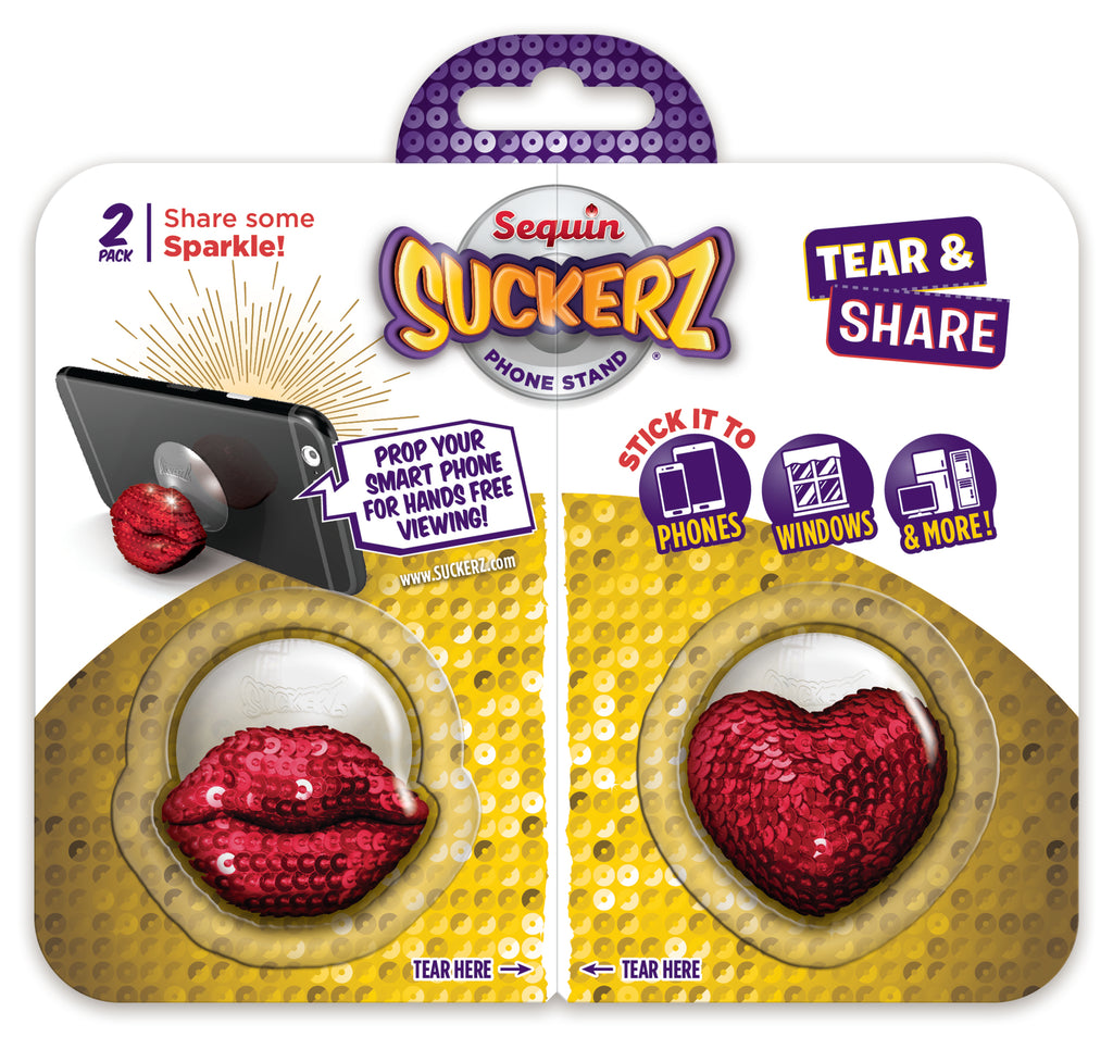 BFF 2-Pack Lips & Heart Sequins Suckerz