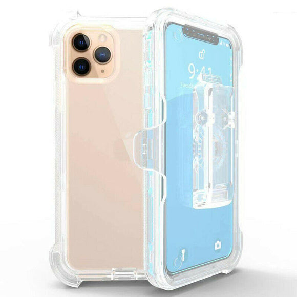 Phone Case Clear iPhone 11 Pro Max + Belt Clip fits Defender