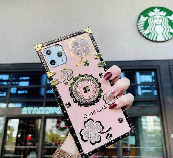 iPhone 12/12 Pro Ring Clover Leaf Rose Gold Case