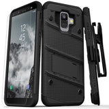 FOR SAMSUNG GALAXY A6 - ZIZO BOLT COVER WITH FULL EDGE TO EDGE TEMPERED GLASS SCREEN PROTECTOR, HOLSTER, KICKSTAND, LANYARD-BLACK & BLACK