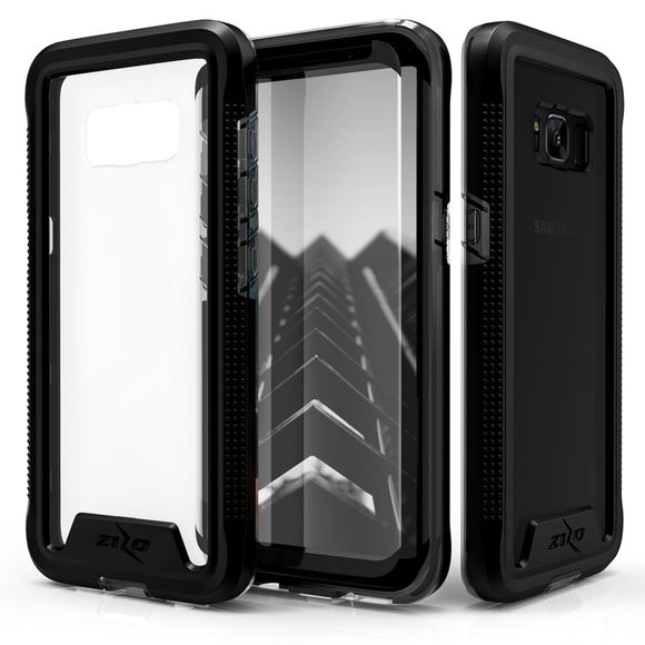 FOR SAMSUNG GALAXY S8 - ZIZO ION TRIPLE LAYERED HYBRID COVER W/ TEMPERED GLASS SCREEN PROTECTOR - BLACK/SMOKE