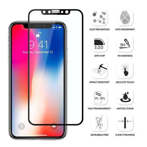 Tempered Glass Screen Protector Full Cover iPhone XR - Black Frame