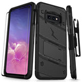 SAMSUNG GALAXY S10E - BOLT CASE WITH BUILT IN KICKSTAND HOLSTER AND FULL GLASS SCREEN PROTECTOR