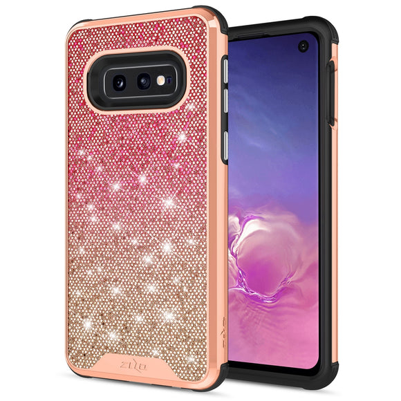 SAMSUNG GALAXY S10E CASE -WANDERLUST SERIES DUAL LAYERED WITH GLITTER DESIGN