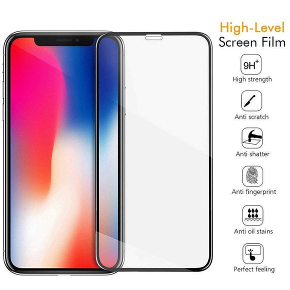 Tempered Glass Screen Protector Full Cover iPhone Xs Max - Black Frame