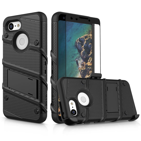 FOR GOOGLE PIXEL 3 - BOLT CASE WITH BUILT IN KICKSTAND HOLSTER AND FULL GLASS SCREEN PROTECTOR