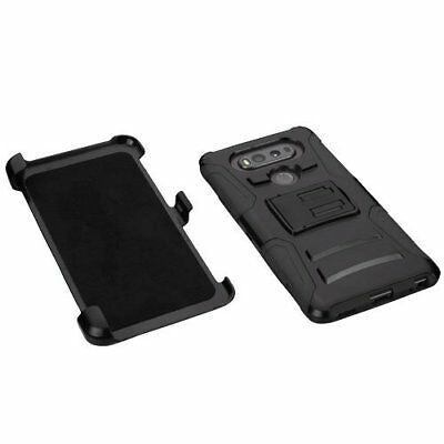 LG V30 Belt Clip Holster Combo Cell Phone Case With Kick Stand Cover Black
