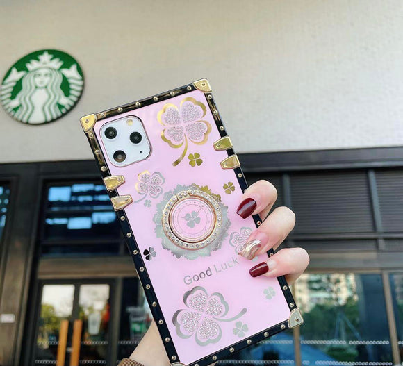 Iphone 12/12 Pro Ring Clover Leaf Pink Case