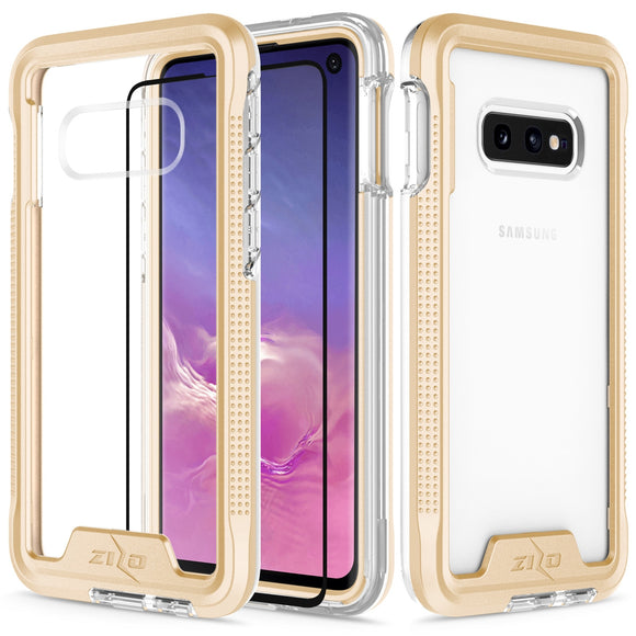 SAMSUNG GALAXY S10E- ION TRIPLE LAYERED HYBRID CASE WITH TEMPERED GLASS SCREEN PROTECTOR