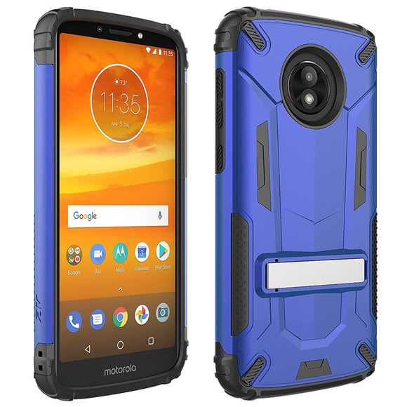 For motorola moto e5 Cruise - Hybrid Transformer Cover w/ Kickstand and UV Coated PC/TPU Layers in ZV Blister Packaging compatible with e5 Play