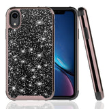 For iPhone XR - Rubberized Dual Layered Full Diamond Hybrid Series Case with Silicon Hybrid Cover in ZV Blister Packaging