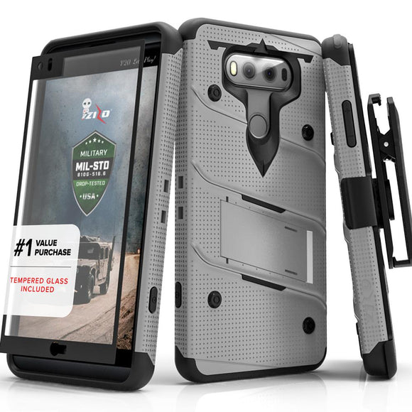 LG V30 ThinQ 5G Case, Zizo Bolt Series with Built-in Kickstand and Holster - GRAY