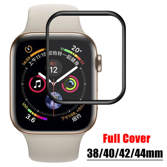 3D Tempered Glass For Apple Watch 44mm Series 4/3/2/1 Full Cover Curved Black Edge Screen Protector Film For iWatch