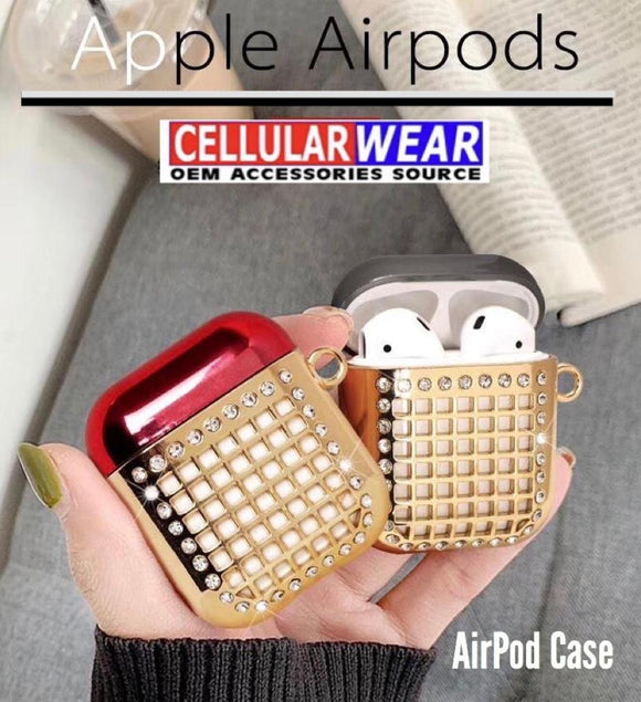 Apple Airpod Spot diamond electroplated case -- Red/Gold