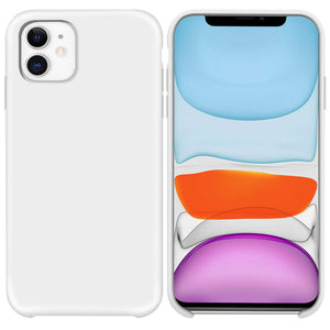 Liquid Silicone Case for iPhone 11, Slim Liquid Silicone Soft Gel Rubber Case Cover-WHITE