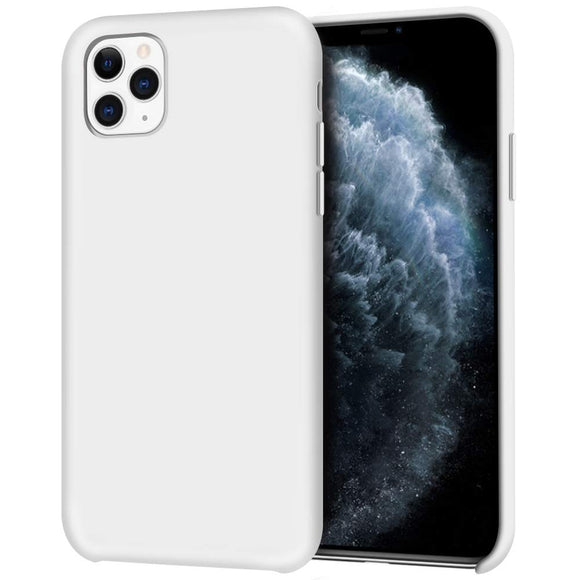 Liquid Silicone Case for iPhone 11 Pro, Slim Liquid Silicone Soft Gel Rubber Case Cover -WHITE