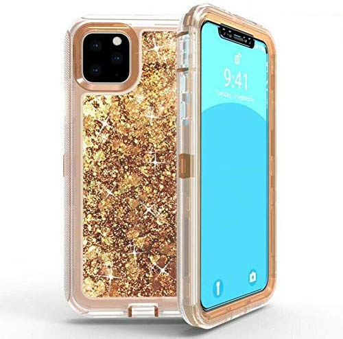 iPhone 11 Case, Shockrpoof Glitter Liquid Case, Full-Body Protection Heavy Duty Case【2019 Release】 RoseGold
