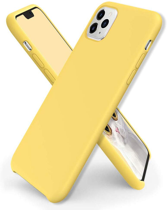 Liquid Silicone Case for iPhone 11 Pro, Slim Liquid Silicone Soft Gel Rubber Case Cover -YELLOW