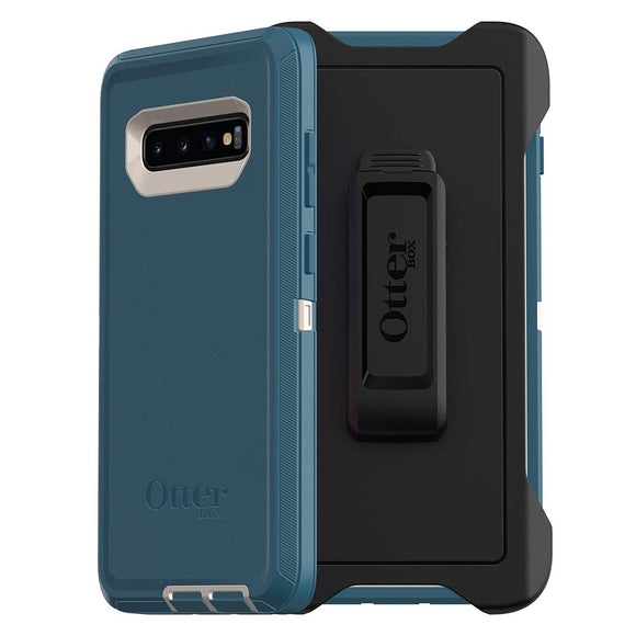 OtterBox Defender Series Case for Galaxy S10+ - Retail Packaging - BIG SUR (PALE BEIGE/CORSAIR)