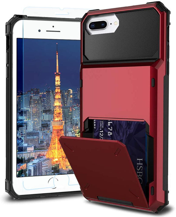 iPhone 7/8 Plus Credit Card Hyrbid case - Red