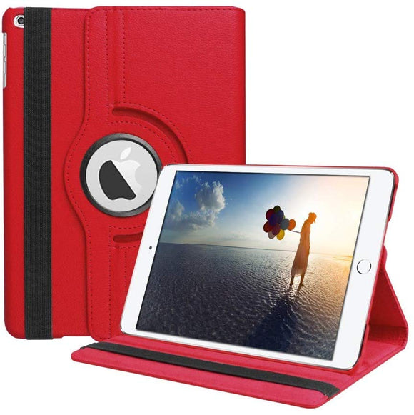 iPad 10.2/ iPad 7th gen 360 Rotating PU Leather Stand Case Hard Back Shell Cover (Red)