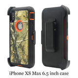 iPhone Xs Max Holster Case, Defender Heavy Duty Shockproof Camo Tree Design High Impact Hybrid Protection Holster Case Cover w/Rotating Belt-Clip&Kickstand for iPhone Xs Max(Tree Orange)