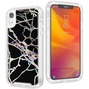 "iPhone Xs Max Case, Lisuixi Shiny [Marble Design] TPU Soft Bumper Rubber Silicone Protective Case Luxury Laser Air Cushion [Full-Body Shockproof] Anti-Scratch Cover for Apple iPhone Xs Max 6.5"" Black"